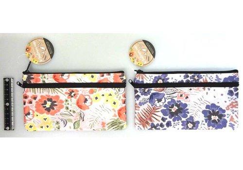 Double zipper pouch, botanical garden