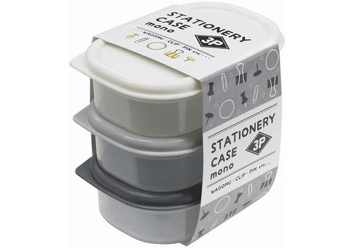 Plastic container for stationery, 3p