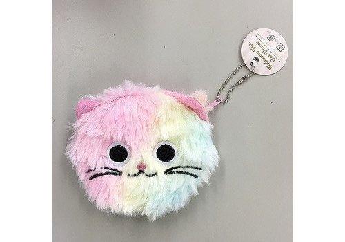 Rainbow fur cat pouch
