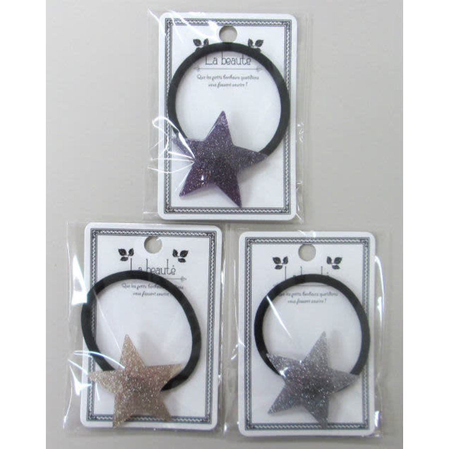 Hair elastic, glitter stars-1