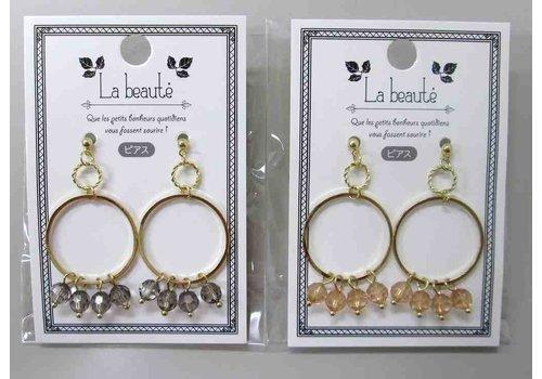 Beaded W ring pierced earrings