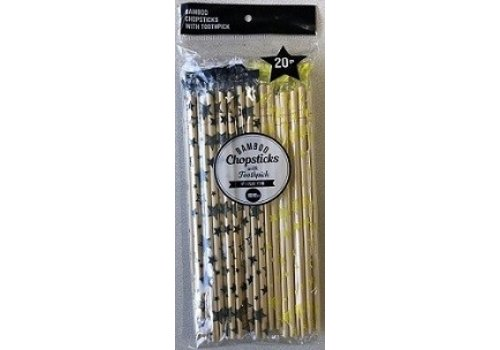 Plastic packed bamboo chopsticks with toothpick 20p star