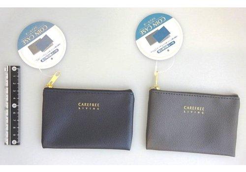 Artificial leather coin case, navy/gray