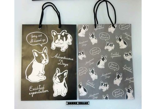 Paper bag L size vertical French bull dog