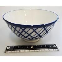 Kommetje ruitpatroon, porselein, blauw, 12,3 cm