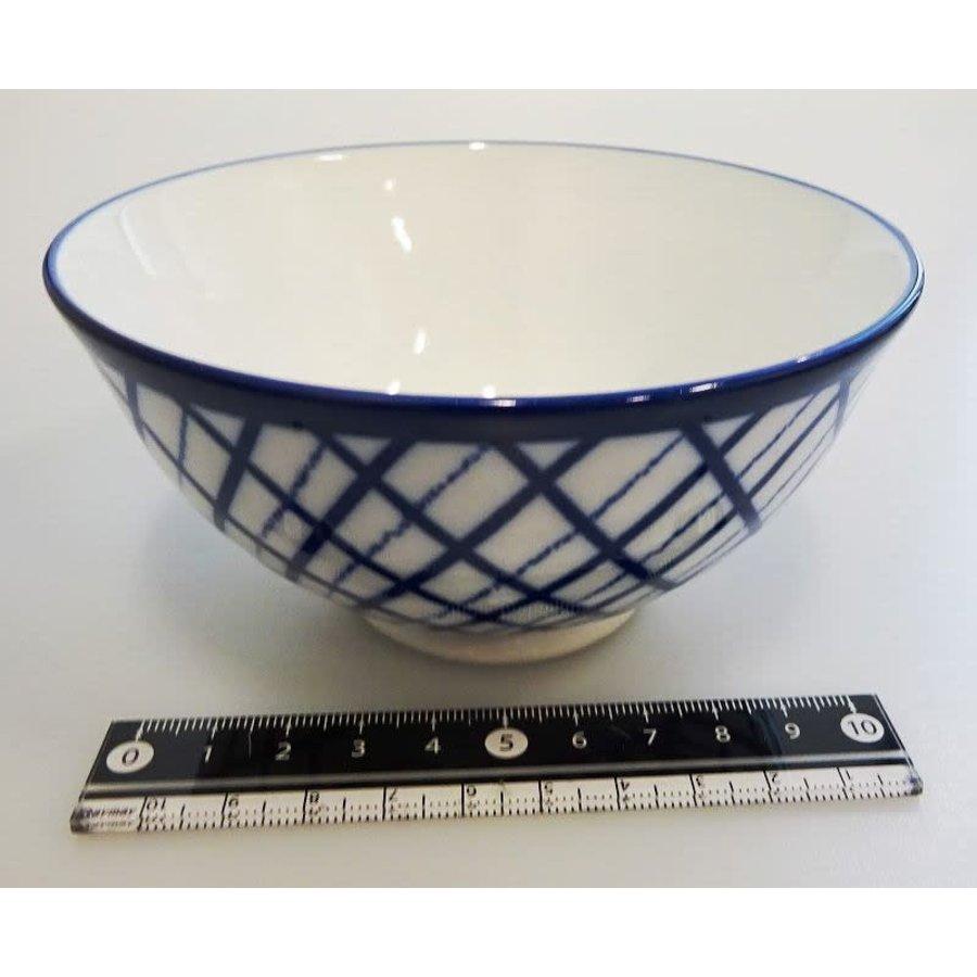 Kommetje ruitpatroon, porselein, blauw, 12,3 cm-1