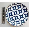 Schaaltje blauw patroon met bruine rand, 14 cm