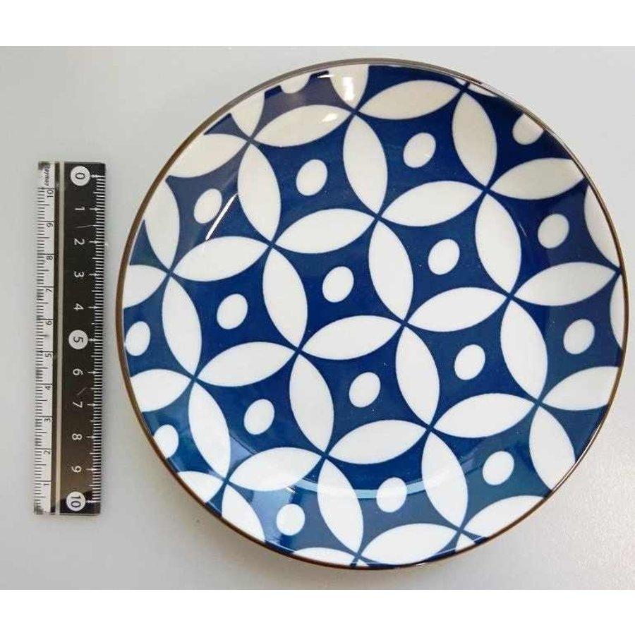 Schaaltje blauw patroon met bruine rand, 14 cm-1