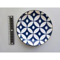 Schaaltje blauw patroon met bruine rand, 12 cm