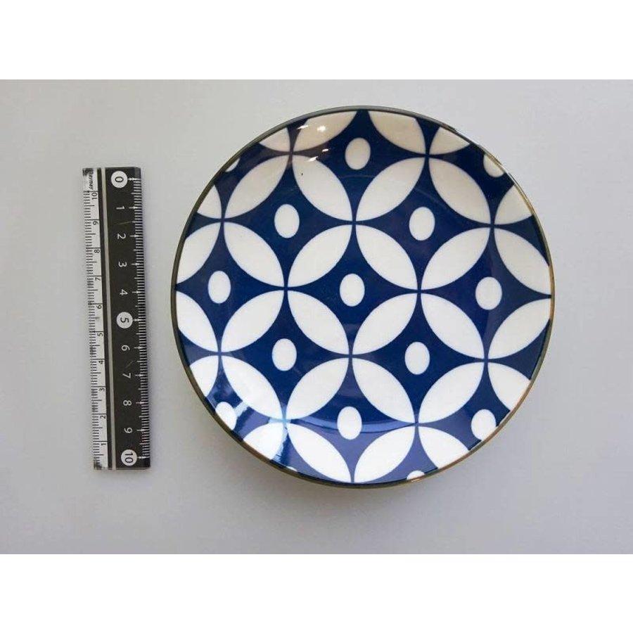 Schaaltje blauw patroon met bruine rand, 12 cm-1