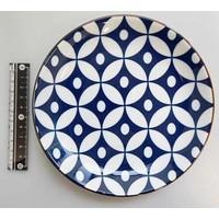 Schaaltje blauw patroon met bruine rand, 16,5 cm