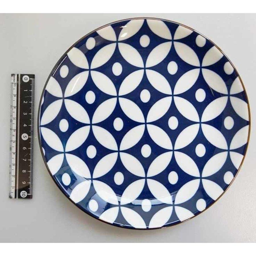Schaaltje blauw patroon met bruine rand, 16,5 cm-1