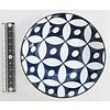 Schaaltje blauw patroon met bruine rand, 11 cm