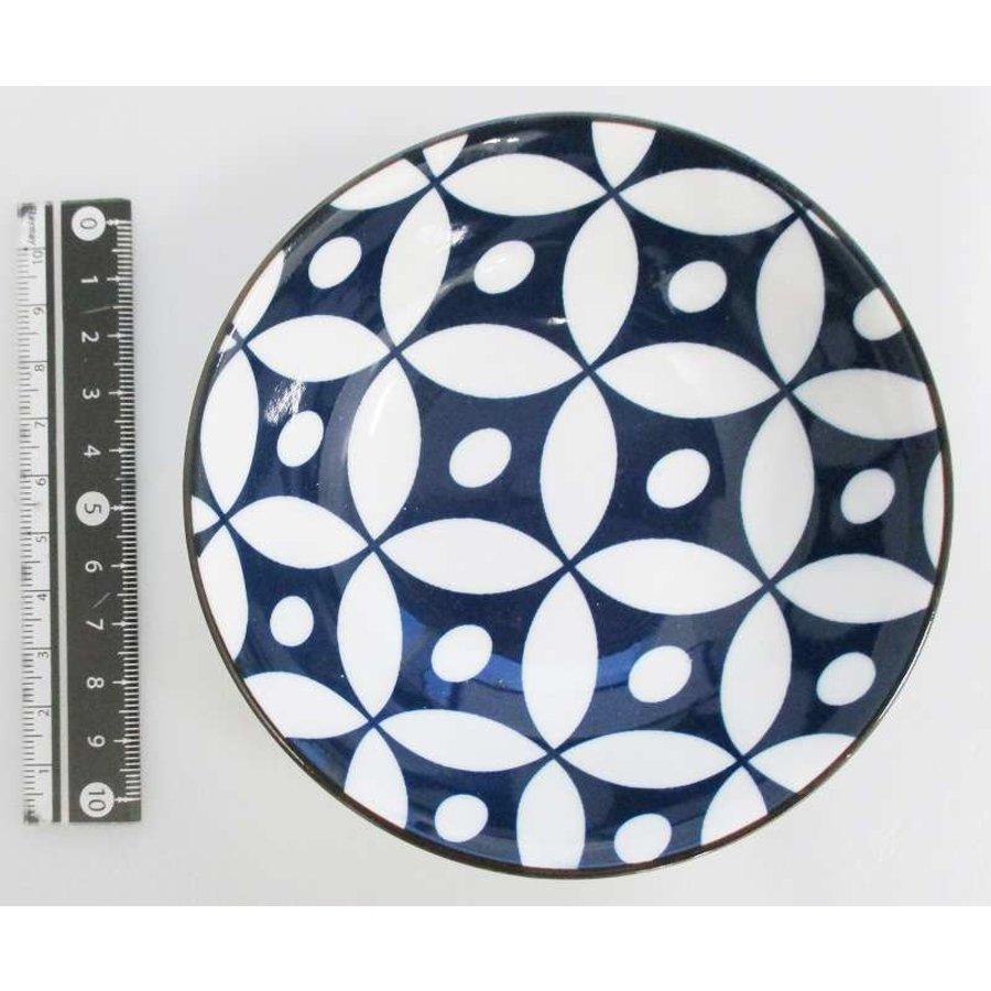 Schaaltje blauw patroon met bruine rand, 11 cm-1
