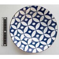 Schaaltje blauw patroon met bruine rand, 14,5 cm