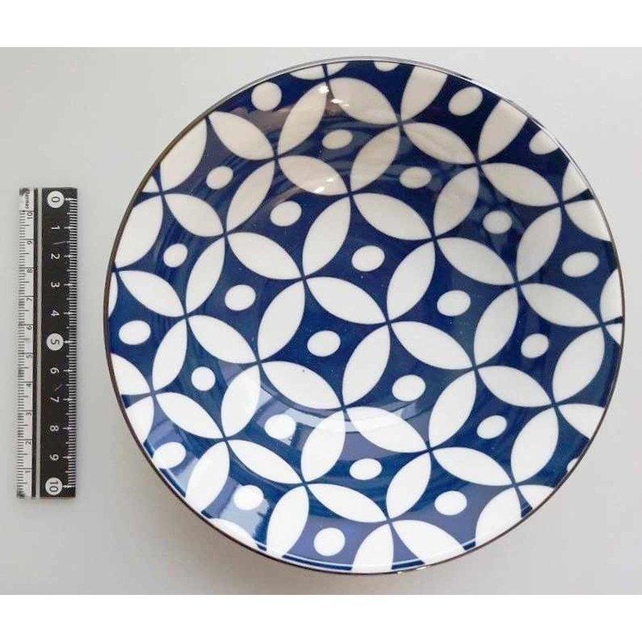 Schaaltje blauw patroon met bruine rand, 14,5 cm-1