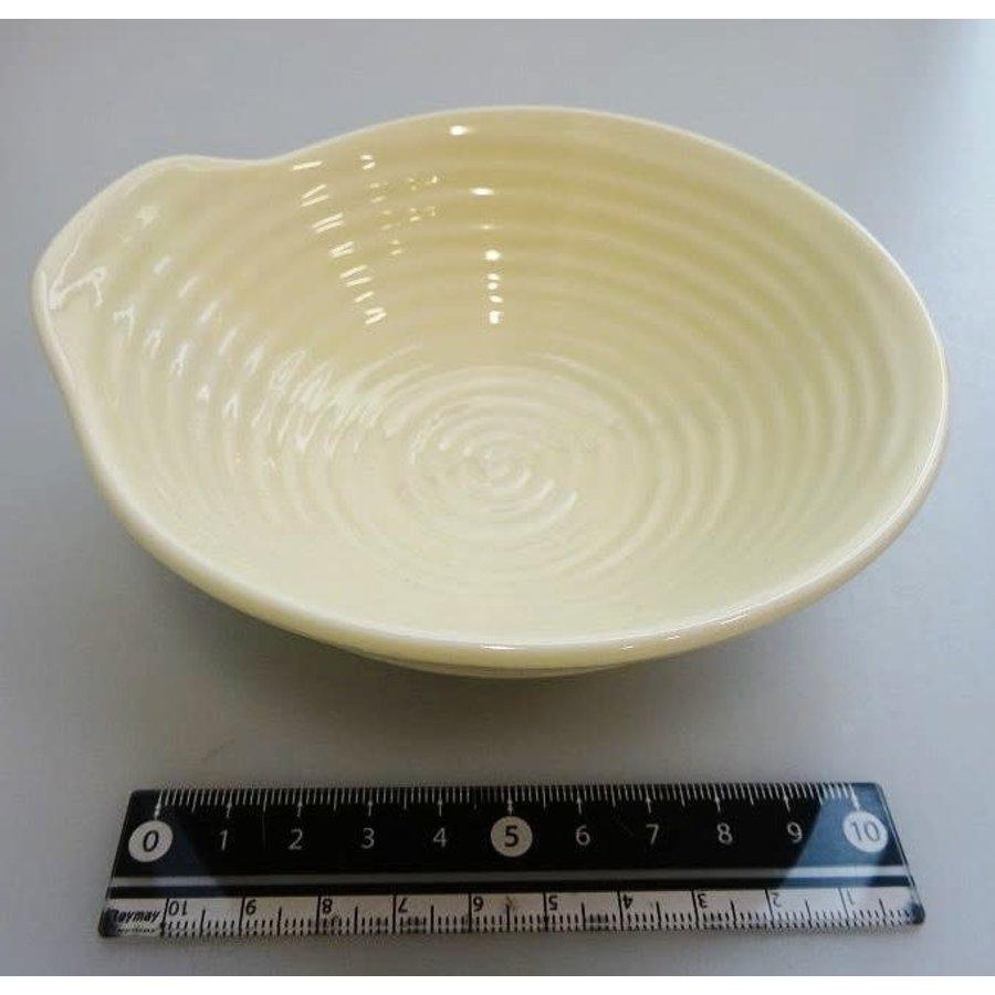 Geel schaaltje met uitstulping en ribbelstructuur, 13,5 cm-1