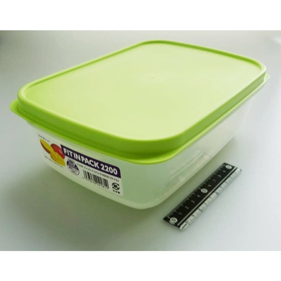Plastic food container, 2200ml, green-1