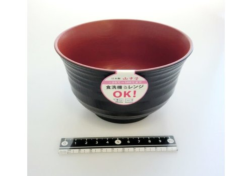 Kunstof kom, rood en zwart, nerfpatroon, ribbelstructuur, 13,5 cm