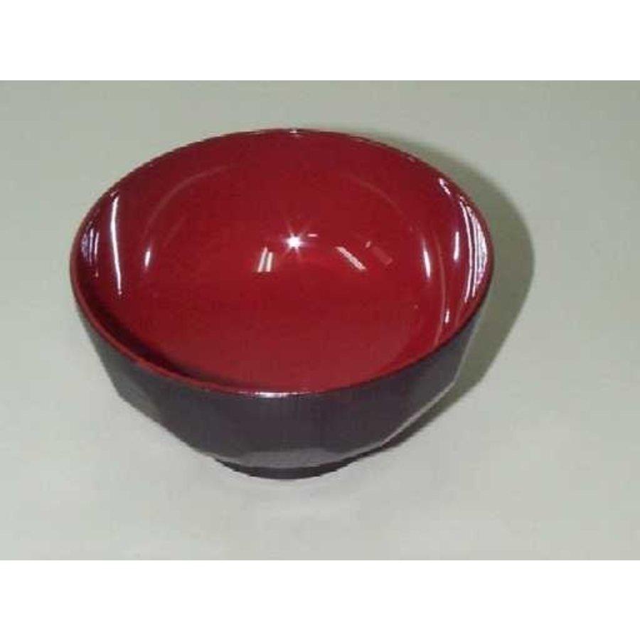 Kunststof kom, rood en zwart, nerfpatroon, hoekig, 11,5 cm-1