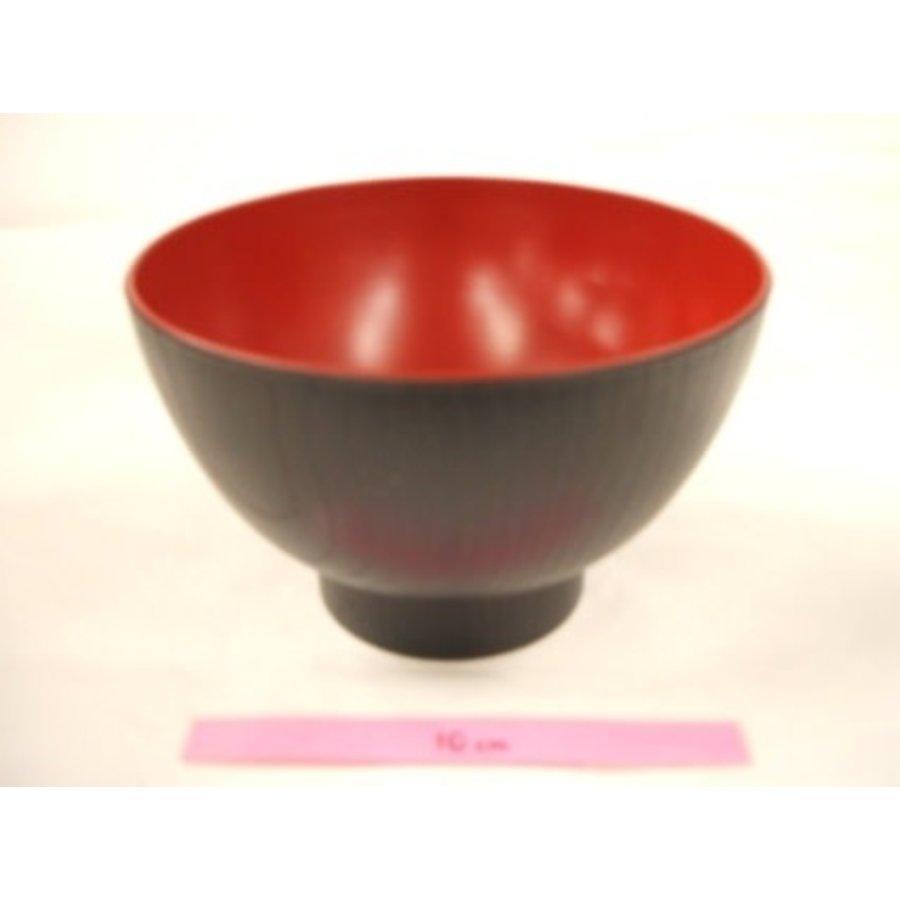 Kunststof kom, rood en zwart, nerfpatroon, 12 cm-1