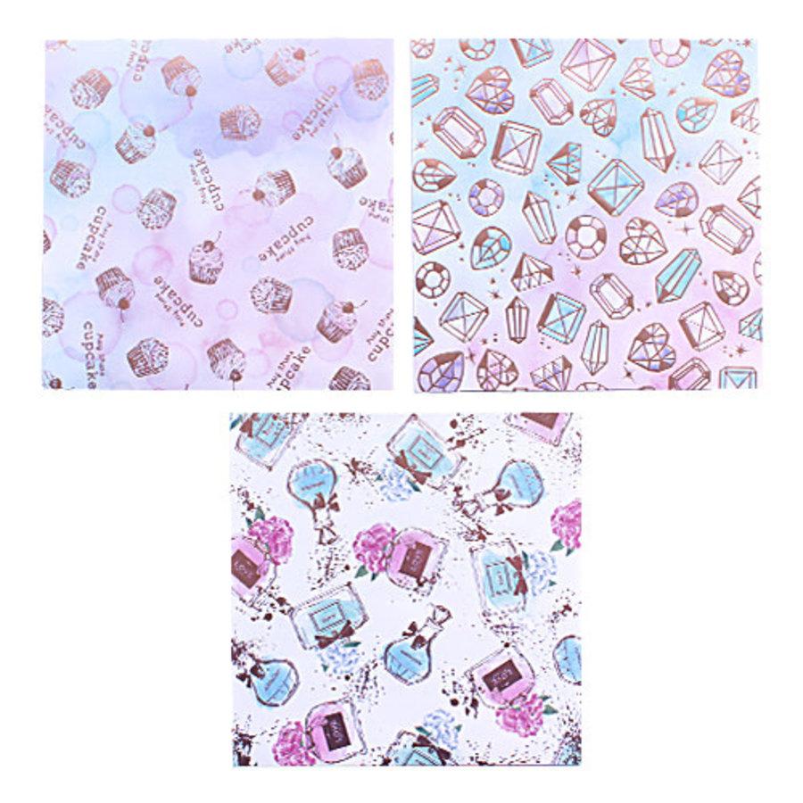 Design papier in 4 glitter aquarel ontwerpen - 12 vellen-2