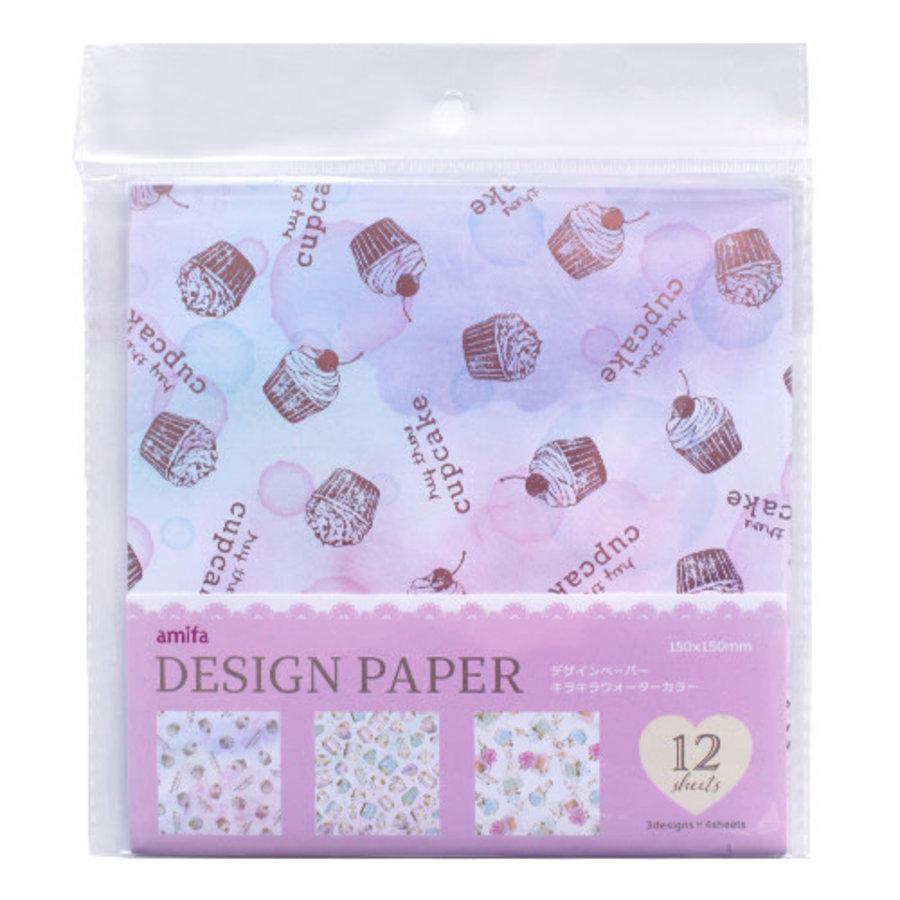 Design papier in 4 glitter aquarel ontwerpen - 12 vellen-1