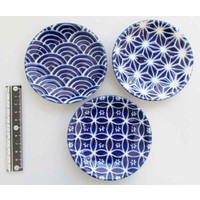 3.0 round plate azure blue small pattern
