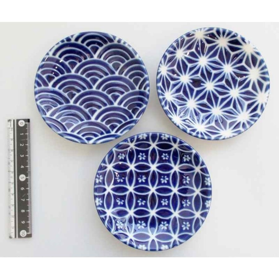3.0 round plate azure blue small pattern-1