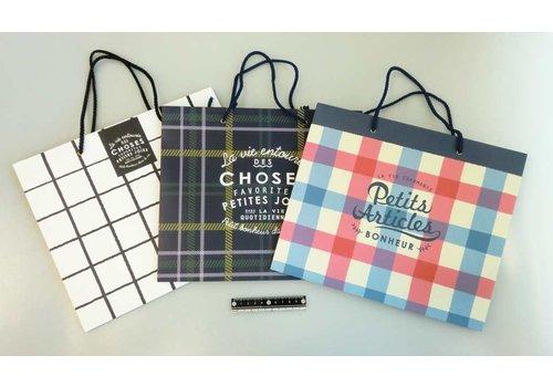 Paper bag L horizontal check pattern