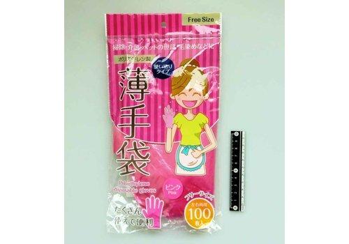 Polyethylene thin gloves 100p in bag pink : PB