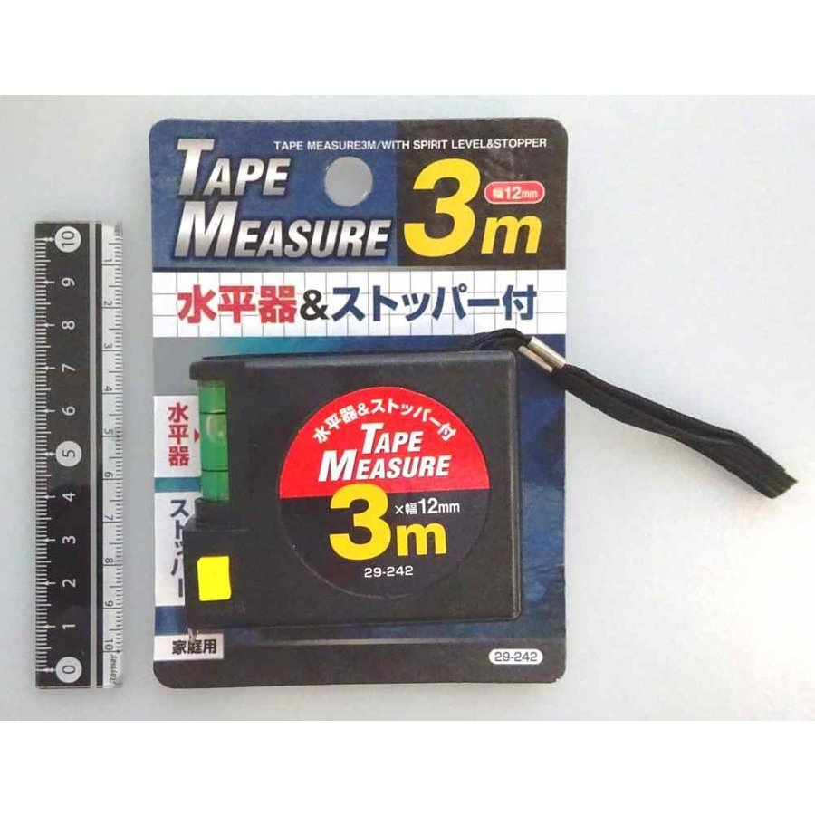 3m measure 12mm width with level gauge and stoppers-1