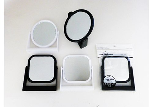 Desk top stand mirror square/round