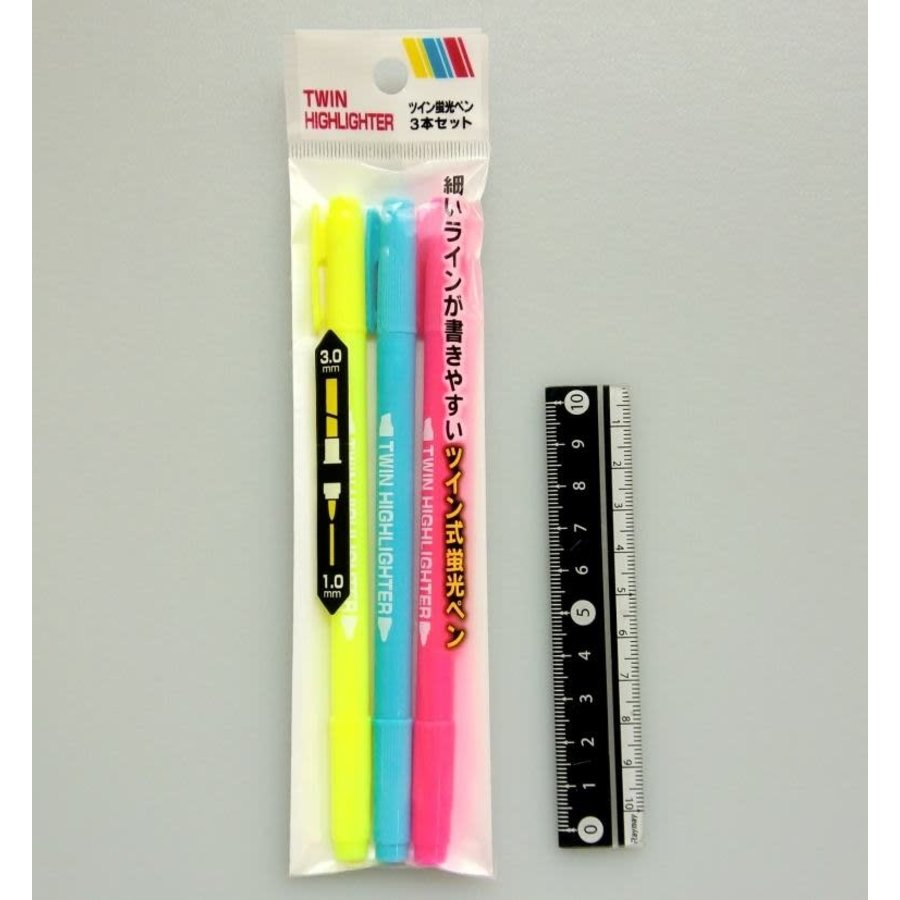 Fluorescent marker doubel head medium and extra thin 3 colors 3p-1