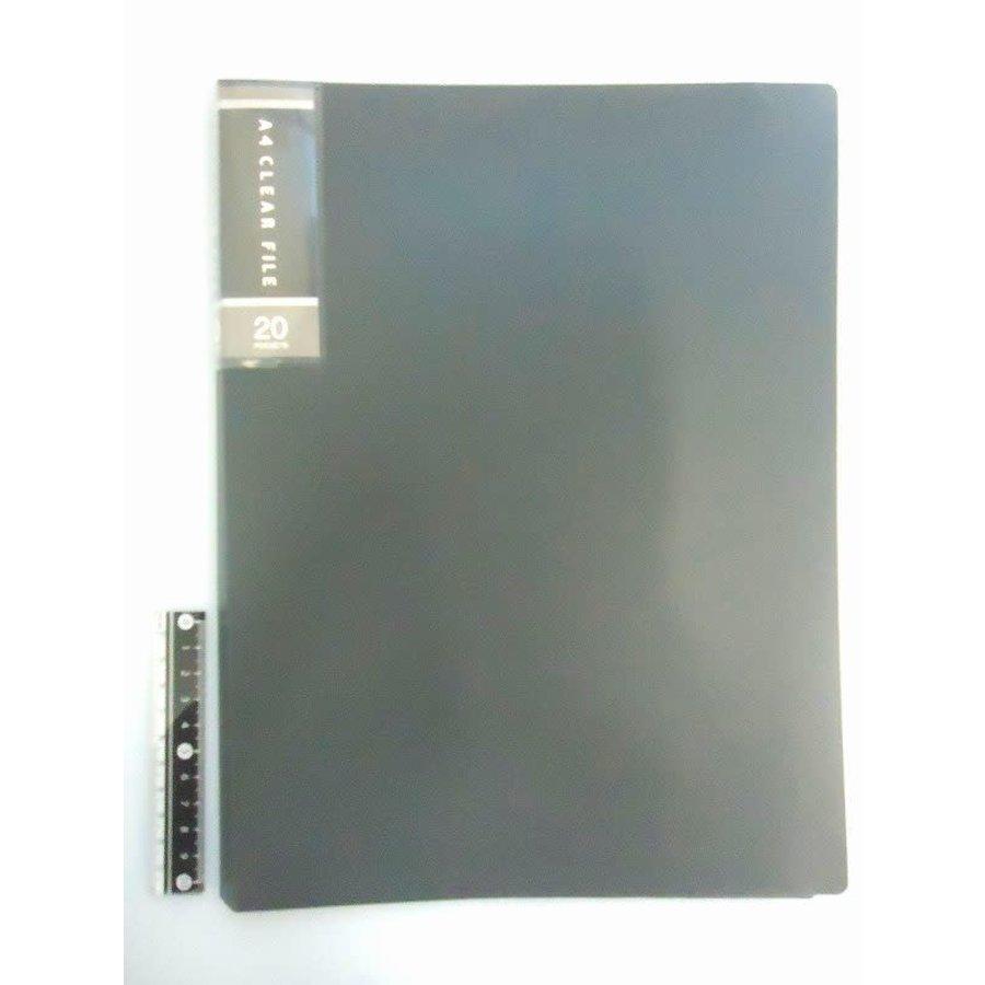 FCS A4 clear file 20p black-1
