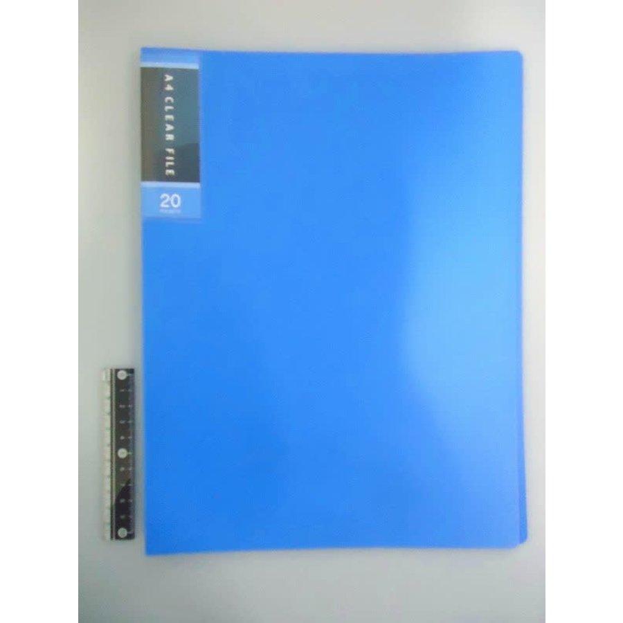 FCS A4 clear file 20p blue-1