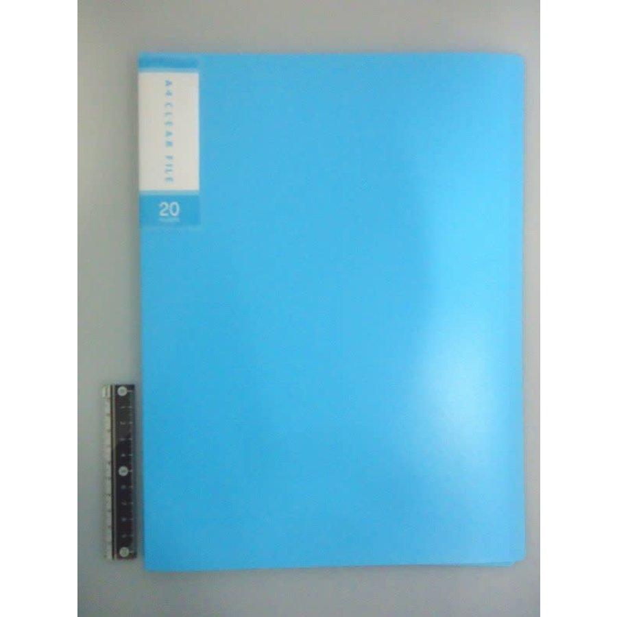 FCS A4 clear file 20p light blue-1