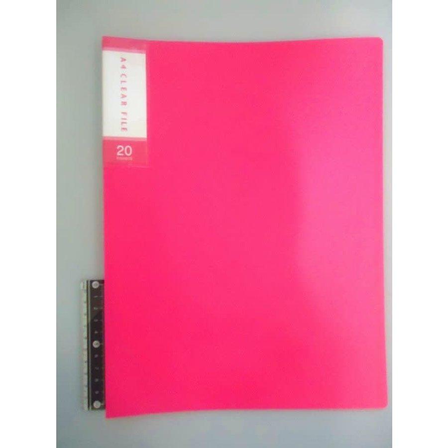 FCS A4 clear file 20p pink-1