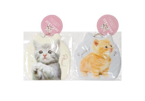 Pass case die-cut PVC cat pattern