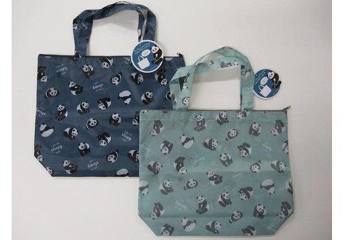 Panda logo pattern with zipper tote bag