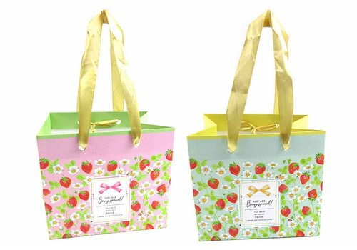 Handle bag S horizontal strawberry pattern with tag