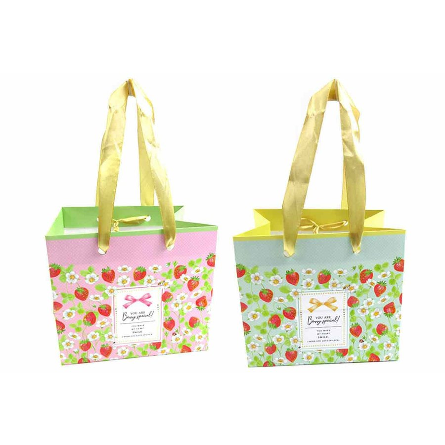 Handle bag S horizontal strawberry pattern with tag-1