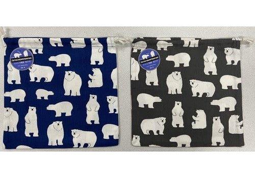 Cotton drawstring bag (white bear)