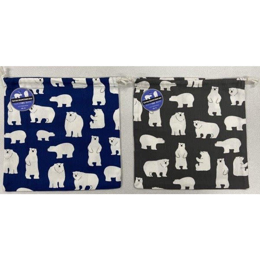 Cotton drawstring bag (white bear)-1