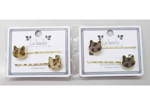 Leopard pattern eco fur cat pin 2P