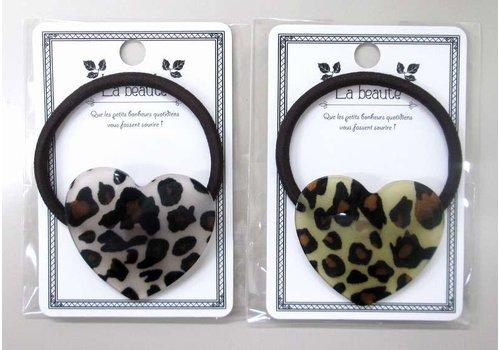 Animal pattern acrylic heart pony