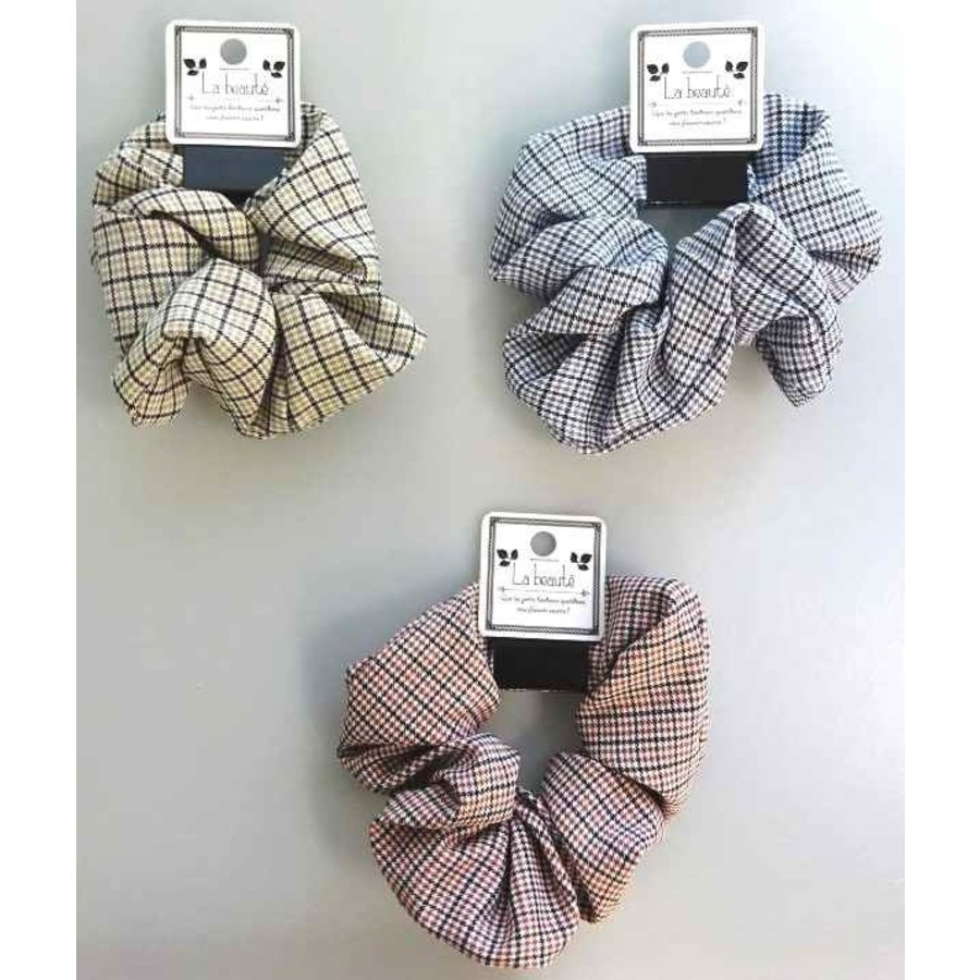 MIX check pattern scrunchie-1