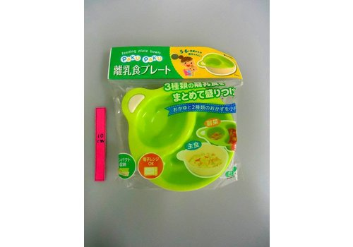 Baby food serving plate green