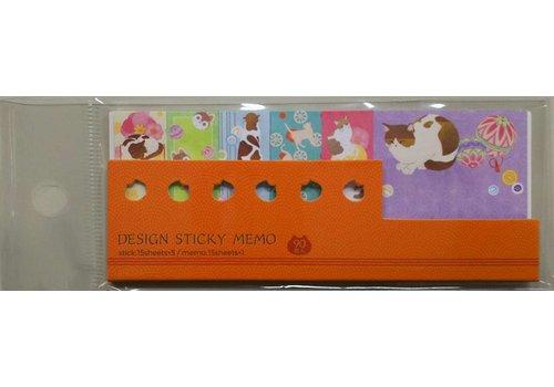 Design sticky 6 patterns Japanese cat 90P