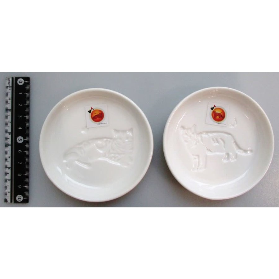 Animal soy sauce dish cat heart ・ cat a musical note-1